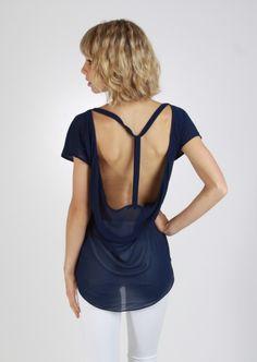 T-Strap Open-Back Blouse #navy #open #back #blouse #kieus
