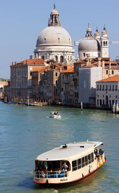 Boating on the Canal Grande , vaporetto Venetia. Italy