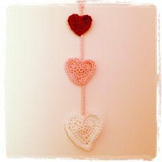 Crochet heart hanger
