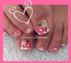 New Nail Art Design, Nail Art Designs, Toe Nail Art, Toe Nails, Pretty Nails, Pedicure, Lily, Nail Bling, Nail Ideas