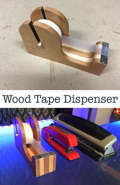 An office tape dispenser out of wood can be a beautiful desk accessory. You can either use all of the same species of wood or mix and match for contrasting colors.