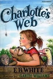 Charlotte's Web is by E.B. White, who also wrote Stuart Little.  Charlotte's Web is the story of a pig named Wilbur, the runt of the litter, who is adopted by a little girl named Fern Arable.  The story develops with the introduction of Charlotte, a spider who embarks on a plan to rescue Wilbur from the normal fate of pigs...