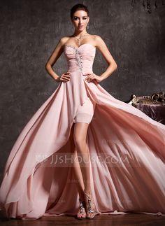 Corte A/Princesa Escote corazón Asimétrico Chifón Vestido de baile de promoción con Volantes Bordado (018020814)