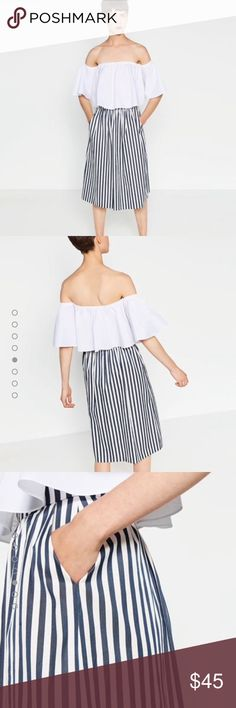 Zara stripes taffeta midi skirt. Size SMALL. NWT Zara blue and white stripes- taffeta midi skirt. Size Small. NWT. Zara Skirts Midi