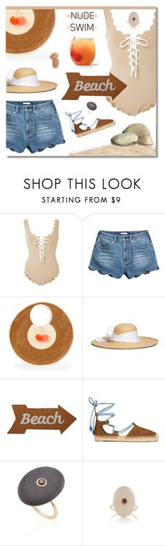 """Nude Peach Beach"" by ekaterina-uglyanitsa ❤ liked on Polyvore featuring Marysia Swim, Sophie Anderson, Sensi Studio, Mud Pie, Tory Burch, CVC Stones and nudeswimwear"