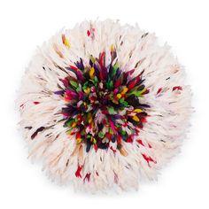 Juju Hat Multicolore Contour Blanc Moucheté de Couleur / Feather Hat Multicolor Outline White Speckled of Colour