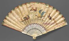 1730s, Venice, Italy - Fan - Double paper leaf painted in gouache; ivory sticks, lacquered and gilded; mother-of-pearl - Reverse: scene of four large birds, decorative border with gilt details