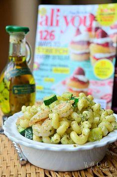 Shrimp And Veggie Pesto Pasta Salad - Will Cook For Smiles