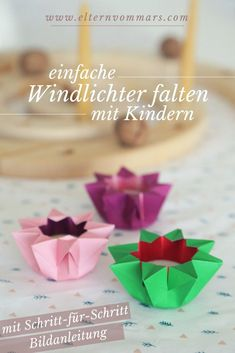 Windlichter falten - New Ideas Origami Tutorial, Origami Easy, Origami Paper, Disney Furniture, Christmas Origami, Diy Presents, Origami Flowers, Outdoor Christmas Decorations, Last Minute Gifts