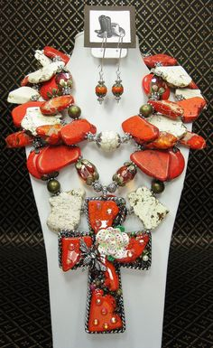 Cowgirl Necklace / Red/Orange Triple by CayaCowgirlCreations, $165.00