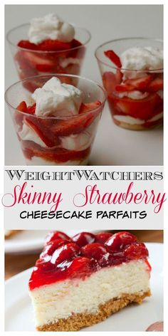 Easy & Delicious Weight Watchers Skinny Strawberry Cheesecake Parfaits - No Bake!! - 188 Calories | 7 SmartPoints