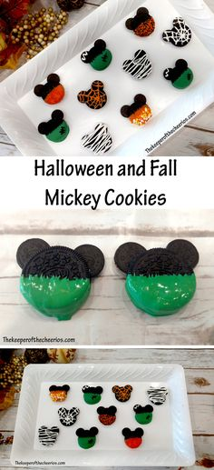 Halloween and Fall Mickey Cookies - The Keeper of the Cheerios recipes halloween party Mickey Halloween Party, Disney's Halloween Treat, Halloween Party Supplies, Halloween Goodies, Halloween Birthday, Holidays Halloween, Scary Halloween, Kids Halloween Parties, Halloween Treats For School