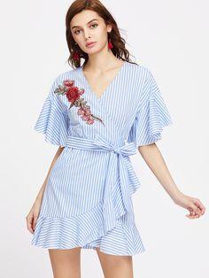 5f39f266e4 Striped Embroidered Rose Patch Ruffle Trim Surplice Belted Dress  -SheIn(Sheinside) Blue Dresses