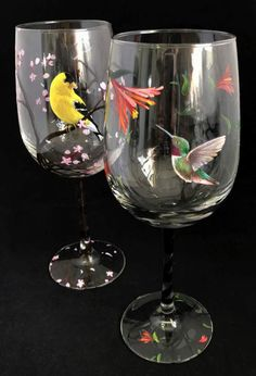 Seasonal Wine Glass Set Hand Painted Birds Hummingbird Cardinal Yellow Finch Woodpecker Summer Spring Winter Fall Unique Art Gift Bird lover  Looking for an unique gift set for that happy couple? Are you an adamant bird watcher and wine enthusiast? This set combines ones love for nature and good glass of wine! These meticulously hand painted birds complete a set of four to represent each of the four seasons. They make incredibly unique gifts for housewarmings, birthdays, holidays, weddings…