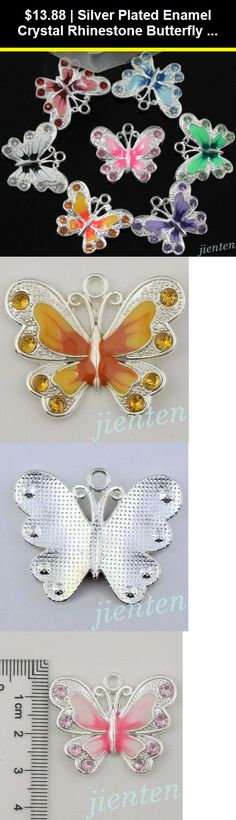 2 platinum rhinestone butterfly and glass  30 mm Charms Pendants 78sp