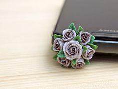 Cell phone dust plug, phone accessories, handmade phone charm, polymer flower