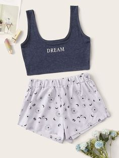Shop Letter & Galaxy Cami PJ Set at ROMWE, discover more fashion styles online. Cute Lazy Outfits, Stylish Outfits, Cool Outfits, Girls Fashion Clothes, Teen Fashion Outfits, Cute Pajama Sets, Cute Sleepwear, Pajamas Women, Aesthetic Clothes