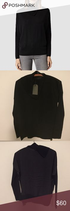 NWT all saints merino wool Brand-new sweater with tags never worn. Super luxurious soft feel with a thin panel in the back. Very flattering fit. All Saints Sweaters