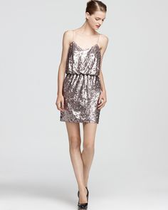 Holiday Party Dress: Aqua Sequin Dress - Spaghetti Strap Blouson | Bloomingdale's