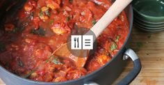 This thick tomato shrimp stew will warm you up and leave you feeling totally satisfied for hours. It's delicious as a side dish or as a sauce for pasta.