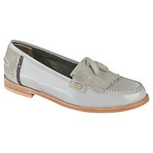 Barbour Amber Fringe Leather Loafers, Grey