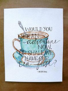 Tea Art Print/ Kitchen Art/ Peter Pan Tea by TheHoneyBeePaperie - 8x10 - $12.33