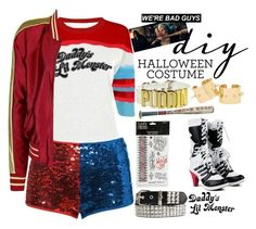 """""""Harley Quinn"""" by dzchocolatess ❤ liked on Polyvore featuring halloweencostume and DIYHalloween"""