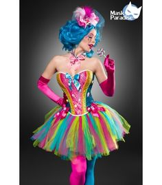 Das verspielte Candy Girl Kostüm von Mask Paradise besteht aus Corsage, Tutu, Hut, Halsband, Handschuhe, Stockings und Lolli - AT80137 - FashionMoon