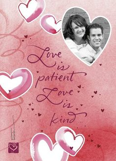 Love is Patient religious photo Valentine card.