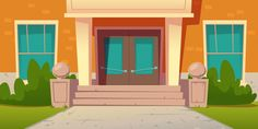 School entrance, building of college cam. Anime Backgrounds Wallpapers, Anime Scenery Wallpaper, Episode Backgrounds, School Entrance, School Doors, Red Brick Walls, Stucco Walls, Background Drawing, Cartoon Background