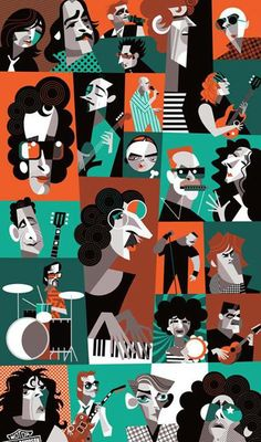 Rock Nacional by Pablo Lobato Satirical Illustrations, Illustrations And Posters, Jazz Club, Musik Illustration, Celebrity Caricatures, Music Artwork, Music Images, Abstract Portrait, Classic Cartoons