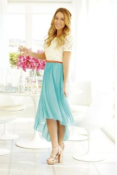 I love the high-low trend on a midi skirt. very cute outfit. Perfect for Cory's mother of the bride dress