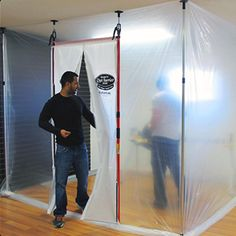 Hand Reusable Magnetic Dust Barrier Door - The Home Depot Barn Wood Projects, Cool Woodworking Projects, Popular Woodworking, Woodworking Tips, Diy Paint Booth, Mdf Doors, Repurposed Wood, Garage Workshop, Wood Working For Beginners