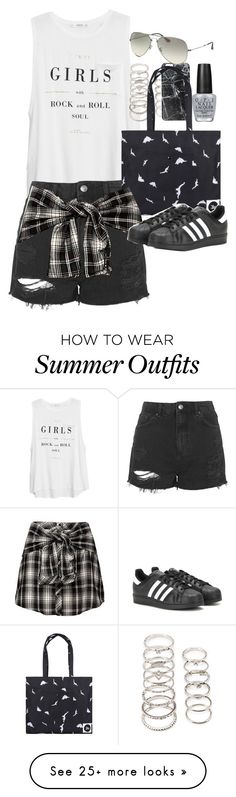 """""""Outfit for summer"""" by ferned on Polyvore featuring MANGO, Topshop, Forever 21, Casetify, OPI, adidas, Ray-Ban, women's clothing, women's fashion and women"""