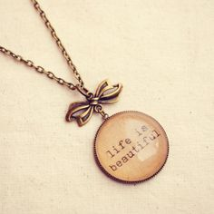Positive Affirmation Necklace Life Is Beautiful
