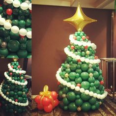 beautiful quick link balloon christmas tree standing 24m tall with a balloon present at its - Christmas Party Decorations