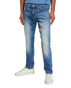 Joe's Jeans Men's Asher Fernwood Slim-fit Faded Selvedge Stretch Denim Jeans In Blue Joes Jeans, Denim Jeans, Stretch Denim, Polyester Spandex, Slim, Fitness, Cotton, Clothes, Shopping