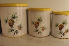 Vintage Decoware yellow and white canister set, with the pine cone...