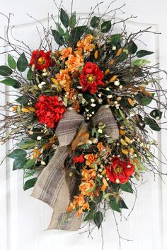 Everyday Country Wreath for Front Door Natural by FloralsFromHome