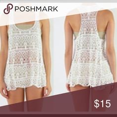 Crochet White Scoop Neck Baby Doll Top Crochet White Scoop Neck Baby Doll Top Detailed  Hi-Low Hem One Size  100% Cotton Hand Wash /Air Dry Tops Tank Tops