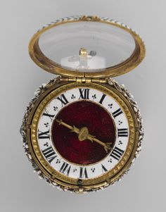 Watch, ca. 1650 Movement by Nicolas Bernard (French, recorded Case: enameled gold; Dial: enameled gold, with a single gilded brass hand; Movement: gilded brass and steel, partly blued Old Pocket Watches, Pocket Watch Antique, Antique Watches, Antique Clocks, Amazing Watches, Beautiful Watches, Unusual Clocks, Fine Watches, Pendant Jewelry