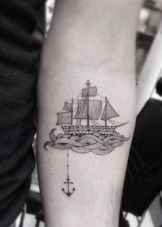 Love this tattoo, since I'm a beach girl. A boat dropping its anchor.