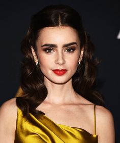 Holiday Party Hairstyles You Can Master in Your Office Bathroom - Lily Collins's Retro Half-Updo from InStyle.com