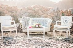 Vintage Lounge Setting for a Beach Wedding | Grace Aston Photography | Swept Away - Mermaid Inspired Wedding on the Coast