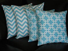 """Pillows 18x18 accent pillow covers CHEVRON zigzag 18"""" Decorative Throw Pillows Turquoise and White. $30.00, via Etsy."""