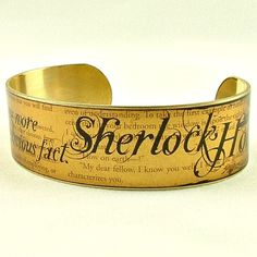 Sherlock Holmes Jewelry - An Obvious Fact - Slim Brass Cuff Bracelet - Book Pages