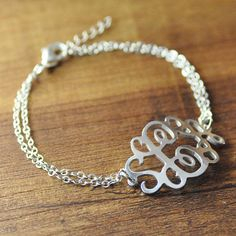 FREE Shipping- Personalized monogram bracelet, 925 sterling silver,custom initials bracelet,double stack chain,personalized alloy jewelry on Etsy, $13.99