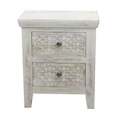 Mango wood 'Ashoka' bedside cabinet with 2 drawers Narrow Bedside Cabinets, Debenhams, Building A House, Drawers, New Homes, Carving, Rustic, Mango, Storage