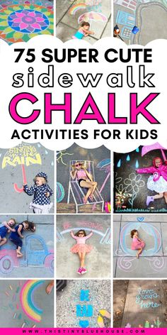 Here are 75+ creative, fun and entertaining sidewalk chalk art ideas for kids and adults alike. These creative sidewalk art ideas are a great way to enjoy spring and summer days being creative with the kids. These super fun chalk art projects are a great way to encourage kids to be creative while enjoying the great outdoors. #sidewalkchalk #sidewalkchalkart #sidewalkchalkartideas #sidewalkchalkartforkids #sidewalkchalkideas #sidewalkchalkartDIY #creativesidewalkchalkart #easysidewhalkchalkart... Summer Activities, Toddler Activities, Sidewalk Chalk Art, Fathers Day Crafts, Toddler Fun, Summer Kids, Kids Playing, Art For Kids, Art Ideas