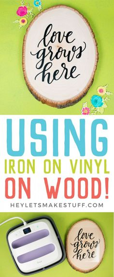 Using Iron On Vinyl on wood is an easy way to add style to any project! Plus it super easy using your Wisteria Cricut Explore Air 2 exclusively from JOANN and your Cricut EasyPress. Get tips and tricks for making your wood and iron on project a success! Wood Projects That Sell, Wood Projects For Beginners, Small Wood Projects, Vinyl Projects, Diy Craft Projects, Project Ideas, Circuit Projects, Welding Projects, Cricut Explore Air